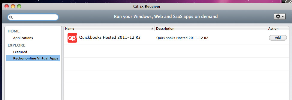 You must now configure the Receiver for use and for QuickBooks Hosted. Launch the Citrix Receiver and you will be taken to the Citrix Receiver website.