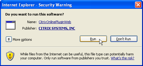 4. The following pop up will prompt if you want to run or save the file. Select Run Windows XP Windows 7 5.