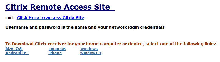 How to install Citrix Receiver for Home/ Personal Device If you login to the Citrix Remote Access Site and receive the following prompt due to it being your first time logging in, you will need to