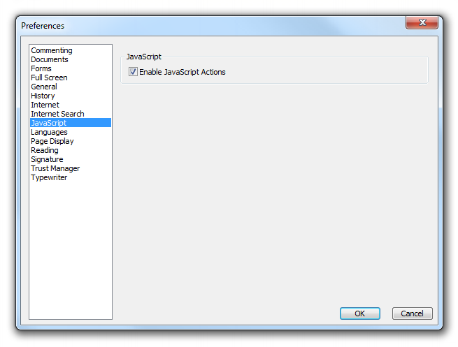 ENABLE JAVASCRIPT IN FOXIT READER In Foxit Reader, there is a setting that enables or disables Javascript.