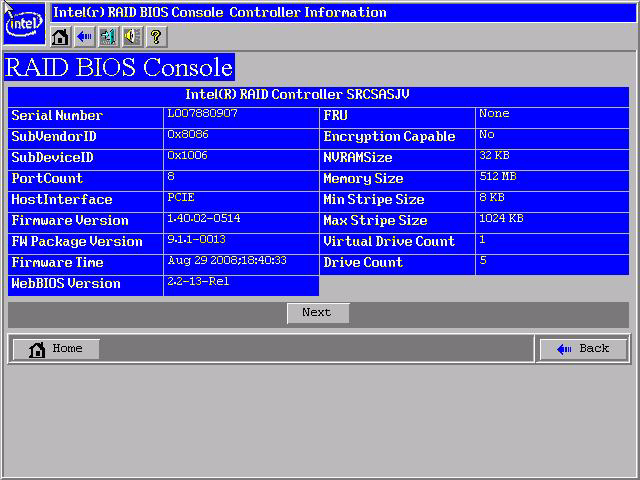 Controller Selection This option allows you to choose an Intel RAID controller installed in the system. Controller Properties Screen Figure 10.