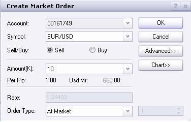 Trading Functionality Open a position at the current market rate: The simplest way to place an order to be executed at the current market rate is by left clicking on the exchange rate within the