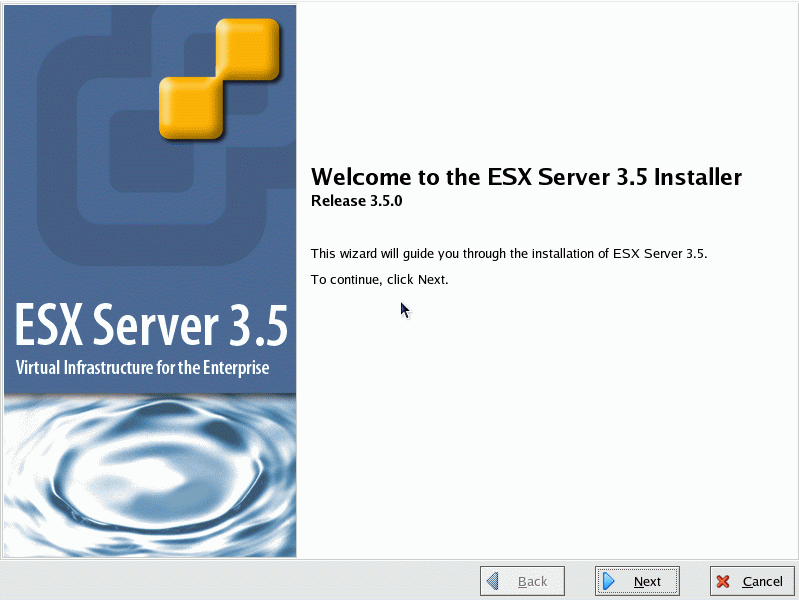 The ESX Server 3 Installer Wizard will be shown.