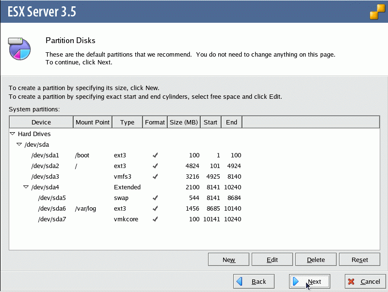 Optionally you can edit the default partitioning settings.