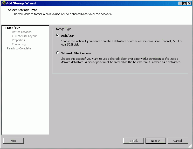 Add Storage dialog appears. Select Disk/LUN storage type.