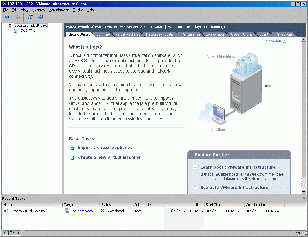 If successful, the Virtual Infrastructure Client window should look like