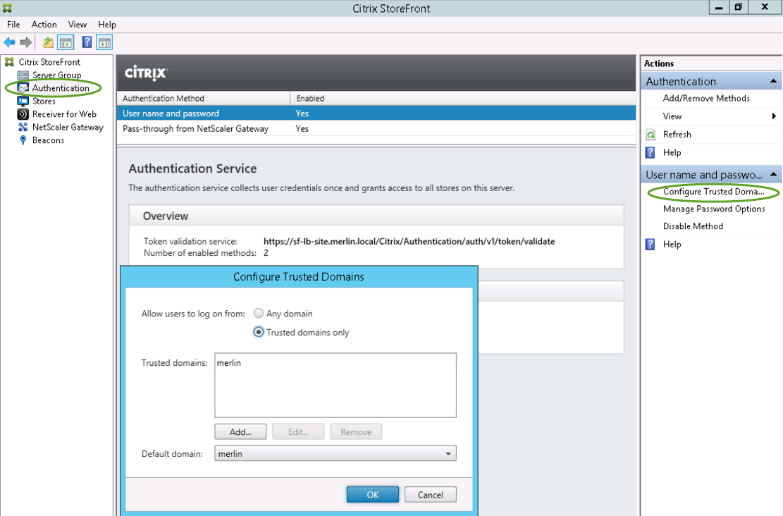 7. In the Authentication option of the console, select the Pass-through from NetScaler Gateway method.