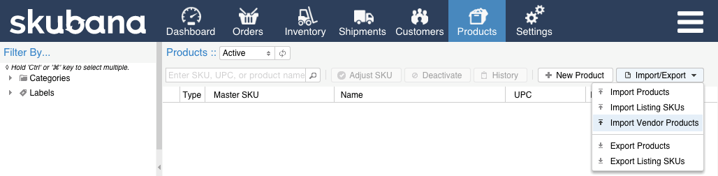 4 3. Vendor SKU Import Link the Master SKUs to your vendors product SKUs a. Navigate to Products Import/Export b. Select Import Vendor Products c.