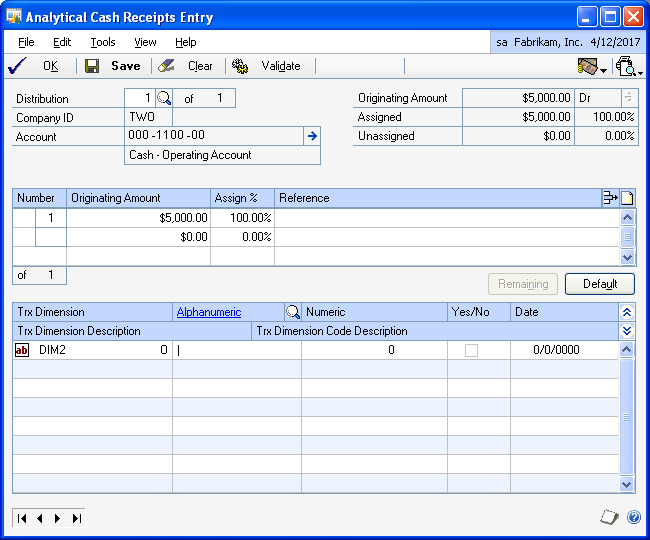 PART 2 TRANSACTIONS To enter analysis information for cash receipts: 1. Open the Analytical Cash Receipts Entry window.