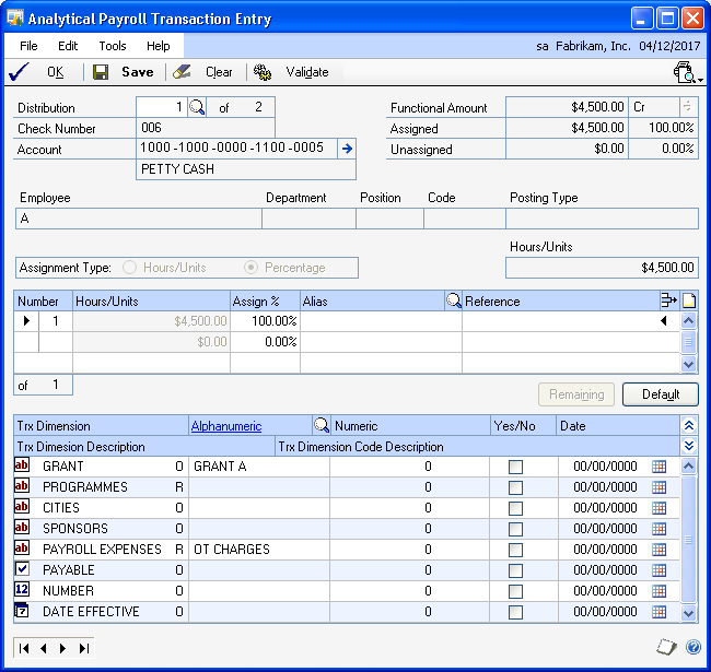CHAPTER 16 ANALYSIS INFORMATION FOR U.S. PAYROLL TRANSACTIONS In the Payroll Mass Transaction Entry window, you can enter an alias to assign default analytical information to a selected range within a payroll batch.