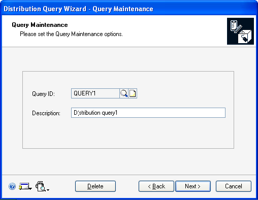 PART 3 ROUTINES, INQUIRIES AND REPORTS To define a distribution query: 1. Refer to Creating and running a distribution query on page 214 and select a query option.