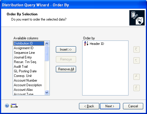 PART 3 ROUTINES, INQUIRIES AND REPORTS To set the order of data for a distribution query: 1.