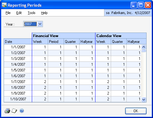PART 1 SETUP To define fiscal years: 1. Open the Reporting Periods window. (Microsoft Dynamics GP menu >> Tools >> Setup >> Company >> Analytical Accounting >> Options >> Reporting Periods button) 2.