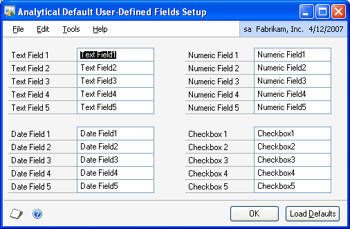 PART 1 SETUP To set up default user-defined fields for transaction dimensions: 1. Open the Analytical Default User-Defined Fields Setup window.