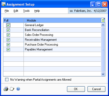 CHAPTER 1 SETUP To set up assignment options: 1. Open the Assignment Setup window.