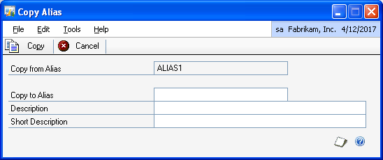 PART 1 SETUP 5. Choose Save to save the alias you have set up. 6. Choose Clear to clear the values, or Delete to delete the alias displayed in the window. 7.