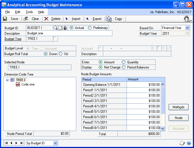 PART 1 SETUP To create a budget: 1. Open the Analytical Accounting Budget Maintenance window. (Cards >> Financial >> Analytical Accounting >> Budget) 2.