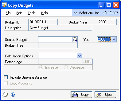PART 1 SETUP To copy budgets: 1. Open the Copy Budgets window. (Cards >> Financial >> Analytical Accounting >> Budget >> Copy button) 2.