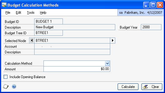PART 1 SETUP To select calculation methods for budgets: 1.