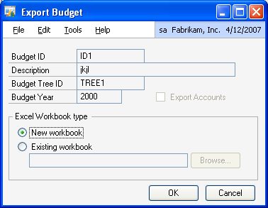 CHAPTER 3 BUDGETS To export budget details: 1. Open the Export Budget window.