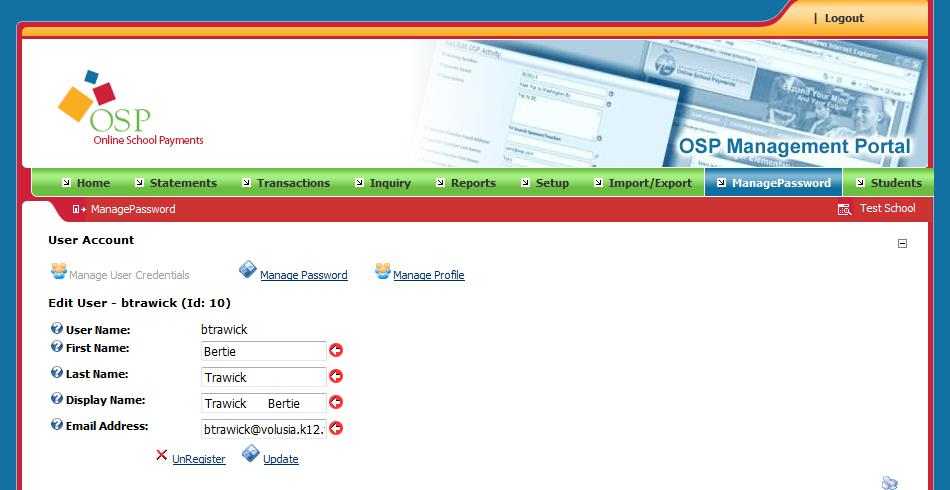 Password Management Update Password To update your password, click the Manage Password button.