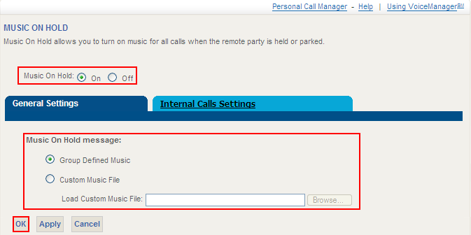 Music On Hold - User Music on Hold enables a user to allow their caller to hear company-provided music or messaging when the caller must be placed on hold.