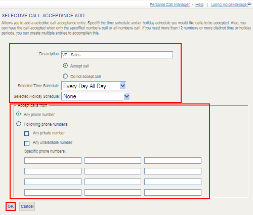 Selective Call Acceptance Selective Acceptance allows you to receive calls that meet pre-defined criteria.