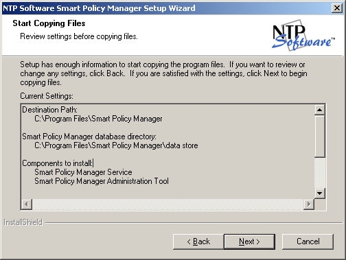 11. Provide NTP Software Smart Policy Manager with a name for your organization and a location name for this NTP Software Smart Policy Manager instance, or accept the default settings.