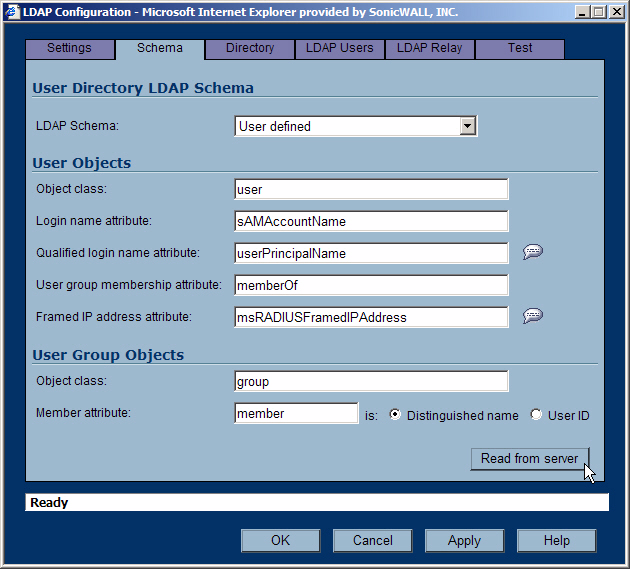 New LDAP Support in SonicOS 3.2 Schema Download from the LDAP Server In SonicOS Enhanced 3.2, you can read details of the schema from the LDAP server.