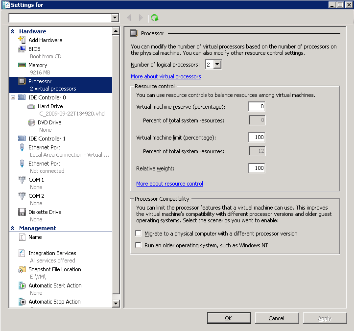 Figure 5. CPU settings for a sample virtual machine in Hyper-V Manager.