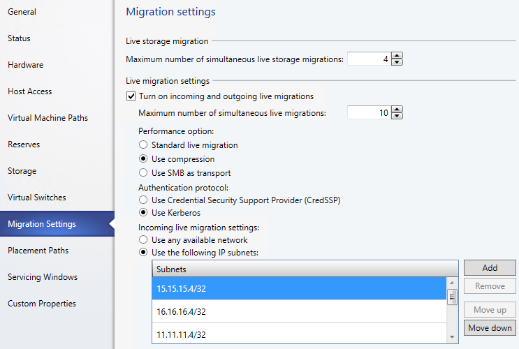 7. Under Live migration settings, ensure that Turn on incoming and outgoing live migrations is enabled, and change the Maximum numbers of simultaneous live migrations value to 10. 8.