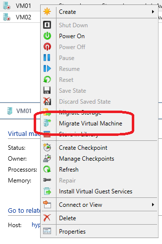 Exercise 6.2: Test a VM Migration In this exercise VMM will perform a migration.