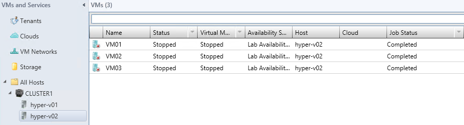 6. Since the VM is currently on HYPER-V01, select HYPER-V02 from the list of hosts. Notice the warning about the Lab Availability Set, as VM03 resides on HYPER-V02 already. Click Next. 7.