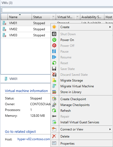 Exercise 8.2: Assign a VM Network In this exercise VMM will assign the newly created VM Networks to the existing virtual machines.