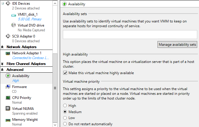 11. In the Select a VM Network window, select Contoso LAN, and then click OK. 12.