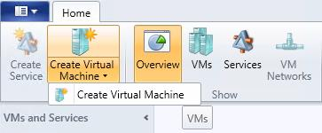 16. On the ribbon, click Create Virtual Machine, and then select Create Virtual Machine. 17.