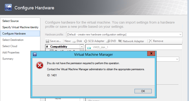 On the Identity page, type VM05 in the Virtual machine name field, and then click Next. 19. On the Configure Hardware page, accept the defaults, and then click Next.