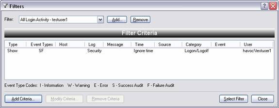 Create filter criteria by clicking, Add Criteria. De-select the Information, Warning, and Error event types. In the Log combo box, type Security. In the Category text field, type Logon/Logoff.
