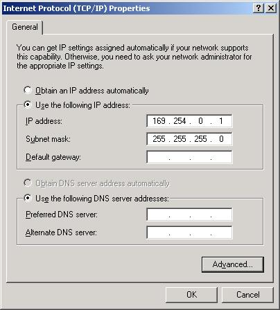 6 Enter the IP Address and Subnet Mask values in the appropriate fields as displayed above, and then click OK.