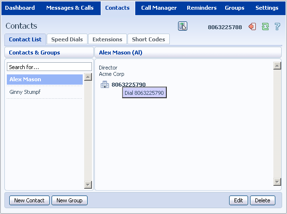 Your new contact has now been added. 12.1.6 Groups You can manage your contacts by assigning them to groups.