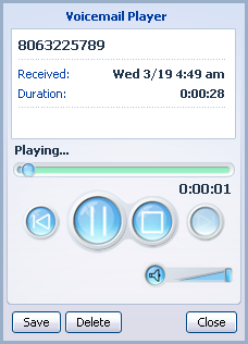 this player you can: See when the message was received and how long it is. Pause, rewind and fast forward the message. Mute the player or change the volume. Delete the message, or Save it to disk. 11.