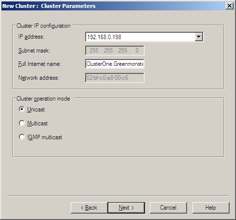 "In the ""Cluster Parameters"" window, enter the Full Internet name or FQDN (Fully Qualified Domain Name) for the DNS host entry associated with the NLB Cluster."