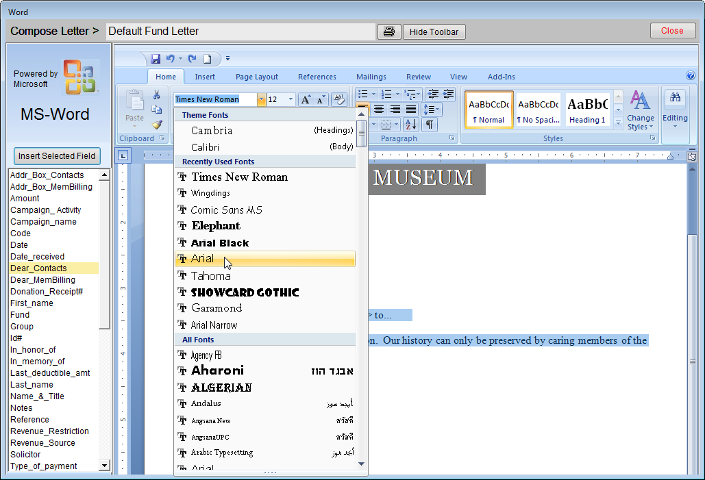 468 PastPerfect Museum Software User s Guide You may use MS-Word s Picture Tools to resize and move the image. Center the image on the top of the page, as in Figure 22-9.