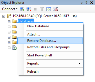 Chapter 3 - Restore Database Pre-requisite Space in the hard drive Before starting the restore, check whether the hard drive has adequate space (where the log files are to be stored).