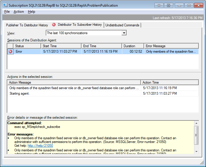 Sql Server Replication View Undistributed Commands