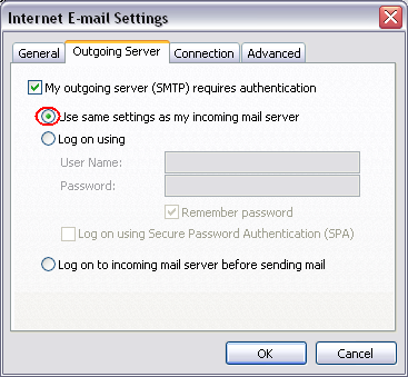 Step 6 Check My outgoing server (SMTP) requires authentication, ensure Use same settings as my incoming mail
