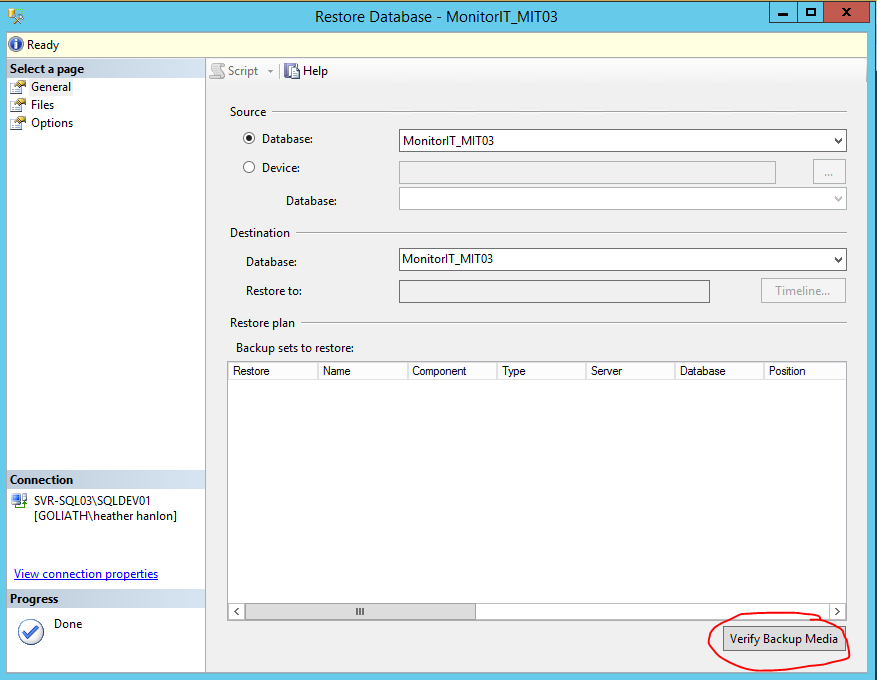 3. The Restore Database window will appear, use the drop down menus to select the database you backed up. 4.