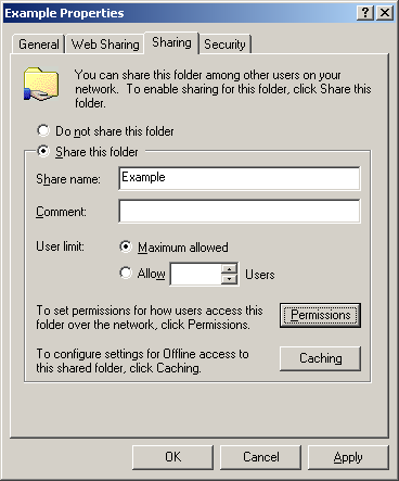 Windows 2000 This section describes file and printer sharing support in Windows 2000.