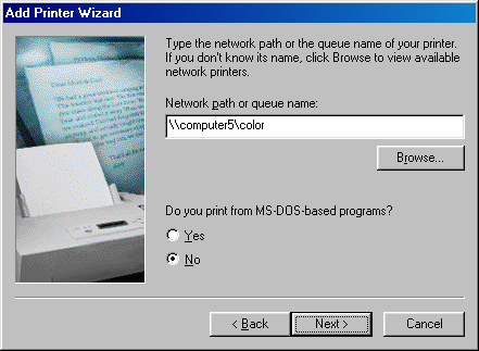 On the third page of the Add Printer Wizard, type the network path of the shared printer as \\ComputerName\SharedPrinterName (in which ComputerName is the name of the computer sharing the printer and