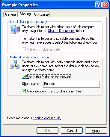 Advanced File Sharing For a computer running Windows XP Professional (when it is a member of a workgroup), you can optionally disable simple file sharing and enable advanced file sharing, also known